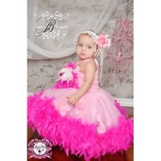Little Piece Of Heaven Crochet Feather Tutu Dress ~ This exquisite dress is a vision in baby pink and raspberry swirl.