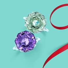 Tiffany Sparklers rings in sterling silver with green quartz and amethyst. #TiffanyPinterest