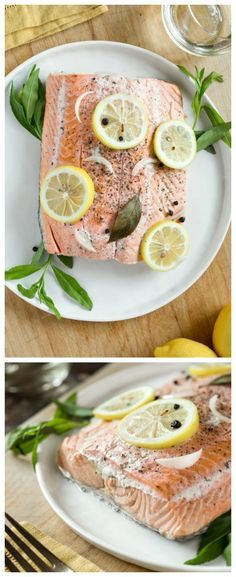 Slow Cooker Poached Salmon from The Kitchn is an easy low-carb and gluten-free dinner from the slow cooker. Omit the wine and this recipe can easily be Paleo.  [Featured on SlowCookerFromScratch.com]:,