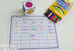 Rainbow writing sight words - editable!