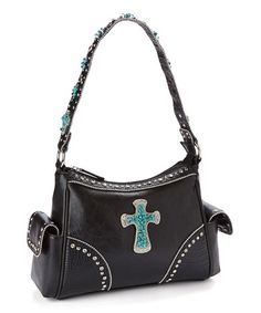 Look what I found on #zulily! Black & Turquoise Sparkle Cross Shoulder Bag #zulilyfinds