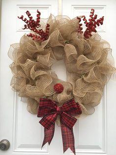 Reindeer wreath/christmas wreath/christmas wreath for front door/burlap christmas door wreath/rustic christmas wreath/rudolph wreath/xmas Corona de Reno Corona de Navidad Corona de Navidad für das Bild 2 Decorations Christmas, Christmas Wreaths For Front Door, Holiday Wreaths, Burlap Christmas Wreaths, Christmas Swags, Winter Wreaths, Thanksgiving Wreaths, Tree Decorations, Rustic Christmas
