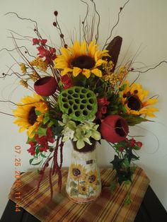 """25"""" Sunflower Floral Country Fall- Autum Pitcher Arrangement by 4Seasonsflorals on Etsy"""