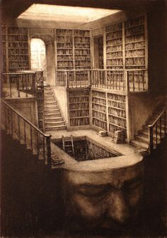 "Paul Rumsey.  Library Head (2010). Ink and charcoal.  image 16 1/4"" x 11 1/4"""