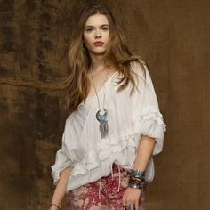 This pretty peasant shirt is crafted from crinkled cotton gauze and designed… Unique Fashion, Boho Fashion, Denim And Supply, All The Colors, Off The Shoulder, Ralph Lauren, Clothes For Women, Pretty, Cotton