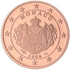 Find out how the national sides of the 1 cent euro coins look like. Piece Euro, Prince Of Monaco, Euro Coins, 5 Cents, Commemorative Coins, World Coins, Effigy, New Pins, Coat Of Arms