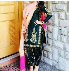#pintrest@Dixna deol Ladies Suits Indian, Indian Attire, Indian Wear, Suits For Women, Clothes For Women, Designer Punjabi Suits, Indian Designer Wear, Punjabi Dress, Desi Wear