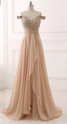 Image of Champagne Sweetheart Off Shoulder Beaded and Sequined Prom Dresses, Long Prom Dresses 2018