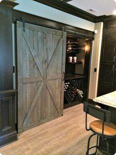 gray sliding barn door