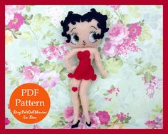 Betty Boop Doll. Felt Doll. Felt pattern. PDF Pattern. Sewing pattern. Felt Crafts.