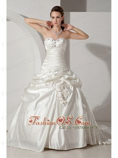 Formal A-line Sweetheart Wedding Dresd Taffeta Beading and Hand Made Flowers Chapel Train  http://www.fashionos.com  | sweetheart wedding dress with lace up back | strapless ball gown with beading | portsmouth new hampshire | ball gown bridal dress with beading and chapel train |