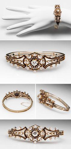 Antique Victorian Bangle Bracelet w/ Old European Cut Diamonds in 14K Gold 1890s - EraGem