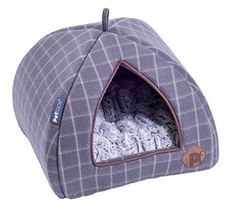 Petface Window Pane Check Cat Igloo Soft Fleece Kitten Puppy Bedding with Faux Fur Cushion #PuppyBeds