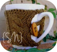 Knit Mug Cozy w/Button. (I'm always meaning to make these and never do - pinned!)
