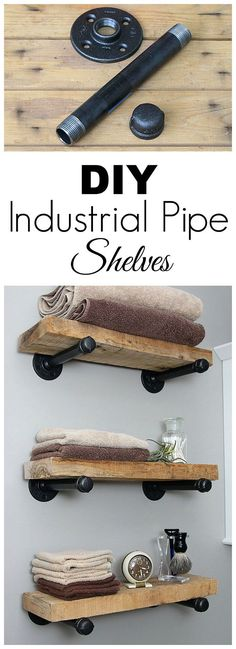 Super easy step by step tutorial for how to make DIY industrial pipe shelves at .Super easy step by step tutorial for how to make DIY industrial pipe shelves at a fraction of the cost of the store bought version. Industrial Pipe Shelves, Industrial House, Pipe Shelving, Kitchen Industrial, Industrial Style, Industrial Furniture, Rustic Shelves, Vintage Industrial, Diy Pipe Shelves