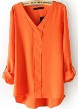 Orange V Neck Long Sleeve Rivet Dipped Hem Blouse Pair w/ Skinny Jeans and turquoise/aqua clutch!!