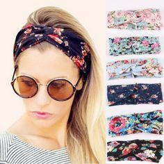 Women Fashion Vintage Headband Floral Wide Stretch Hair Accessories | eBay