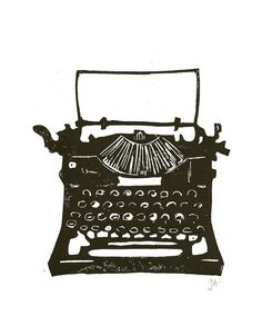 LINOCUT PRINT  Antique typewriter BLACK by thebigharumph on Etsy