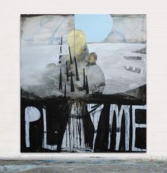 Play me, play you, As three become two . Mixed media on board . Sam Bassett