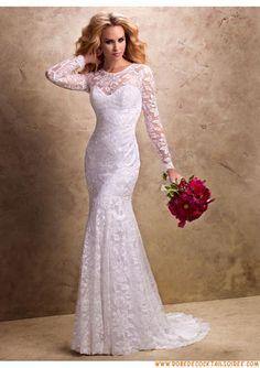 Robe de mariée blanche 2013 avec manches appliques dentelle