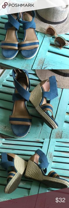 """Fossil wedges nwot Adorable pair of sandals with rope covered 4"""" wedge. Never worn Fossil Shoes Wedges"""