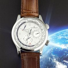 Graceful Geographic! #JaegerLeCoultre #MasterControl #Geographic ref. #Q1528420 in stainless steel.  Featuring date, world time with summer time, second time zone subdial and power reserve indicator.  Complete with box and undated papers!