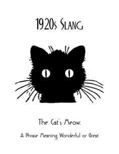 Art Deco Slang Poster, Cats Meow Poster, Vintage Black Cat Poster, Art Deco Great Gatsby Idioms Saying Phrases, Gift for Cat Lovers - Products - Gatsby, Poster Art, Art Deco Posters, Images Vintage, Vintage Art, Poster Vintage, Vintage Black, Cat Lover Gifts, Cat Gifts