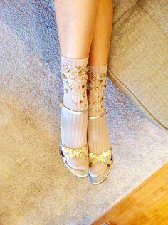 Sequin Sparkle Socks, Beads, Rhinestones, Cotton Blend Crew Runway Socks in Tan, gift for her, occasion socks