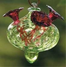 Blown Glass Hummingbird Feeders - You do not want the color yellow anywhere on your glass hummingbird feeder.This attracts bees and wasps. Did you know bees and wasps are very competitive and are able to   keep the small birds away?