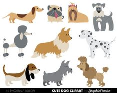 Dog Clipart 2 Puppy Clipart cute dogs clip art by GraphicPassion