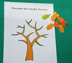 "Our ""decorate the tree for autumn"" and leaves cut from our autumn leaf dominoes set! Autumn Activities For Kids, Learning Activities, Crafts For Kids, Arts And Crafts, Autumn Trees, Autumn Leaves, Activity Village, Create Labels"