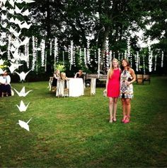 Love the cranes at this outdoor wedding