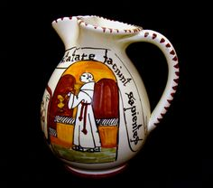 Old monk ceramic pitcher-The abbey of Orvieto wine and women make wise-Vintage…