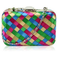 This stunning hardcase clutch features a unique and brightly coloured design to really stand out. It comes with a large detail crystal clasp and an elegant chain for ease of use. New Bag, Fashion Colours, Evening Bags, Clutch Bag, Coin Purse, Shoulder Bag, Wallet, Chain, Entourage