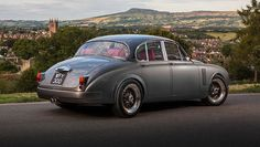 Restored Jaguar Mark 2, redesigned by Ian Callum.   Used modified and uprated 4.3-litre V8 from the Jaguar XK. It sits 30mm lower on 17in split rim spoke wheels.   | Carjackd.tv    #carjackdtv