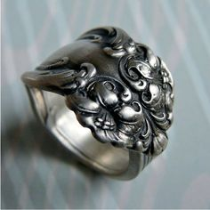 Trending Spoon Ring Antique Silver Pattern Tiger Lily