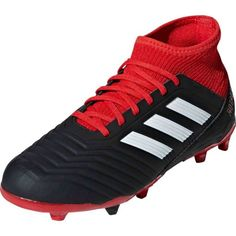 a9cf26ab9 adidas Predator 18.1 FG - Youth - Black White Red. Soccer GearSoccer  ShoesSoccer ...