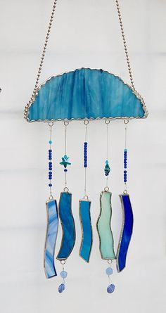 Jellyfish Wind Chimes and Suncatcher Stained Glass in Ocean Blues with Glass Starfish Beads
