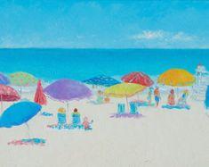 East Hampton Beach painting, canvas art, beach decor, beach artwork, seascape painting, whimsical beach art, beach house art, Jan Matson
