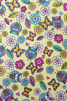 Fabric Wall Canvases Flower Owl Butterfly Prints by AquaXpressions,