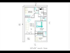 20'x30' south face house plan - YouTube 20x30 House Plans, South Facing House, Duplex Plans, Floor Plans, How To Plan, Interior Design, Face, Youtube, Nest Design
