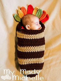 Crochet Turkey Cocoon for Newborn or 0-3 month babies Photography Prop for Thanksgiving. $45.99, via Etsy.