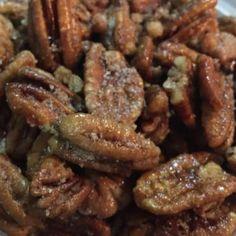 keto cinnamon vanilla pecans Keto Snacks, Fiber, Beef, Food, Meat, Ox, Low Fiber Foods, Eten, Hoods