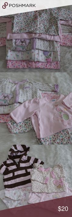 14pc Girls Eat, Sleep and Play Bundle Long and short sleeve outfits and all ready for play. All clothes are pre-loved, this is a play clothes bundle. Some clothes have some stains most are gently used. Brands include Carter's, First Impressions, Old Navy and others. Bundle includes 5 footless bodysuits, 1 hooded footless bodysuit, 3 footed pjs, 1romper, 2pc Dress and matching bloomer, 2pc footed pants and top pj. 14 pieces total. Make an offer!! These clothes have to go 😀 Various One Pieces