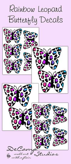 Rainbow Leopard Print Butterfly wall art decals for teen girls bedroom, baby nursery decor, and any children's room decorating ideas #decampstudios