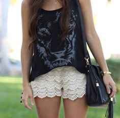 Black feather tank with lace shorts outfit inspiration