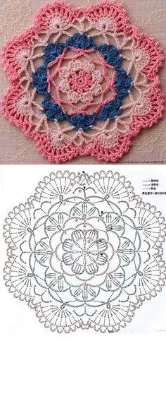 Beautiful crochet mandalas, easy and quick patterns to make Knitting … Crochet Mandala Pattern, Crochet Circles, Crochet Blocks, Crochet Doily Patterns, Crochet Chart, Crochet Doilies, Crochet Flowers, Crochet Stitches, Knitting Patterns