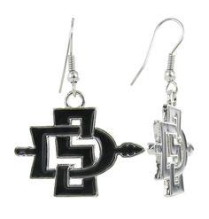 Black San Diego State SD Fish Hook Earrings