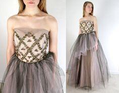 1950s Dress / 50s Cupcake Prom Dress / Tulle by jessjamesjake, $199.00