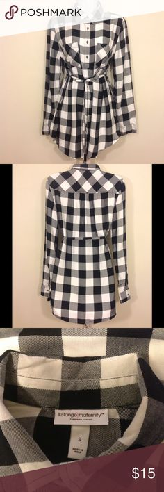 "NWOT Buffalo Plaid Maternity Tunic Top w/ Tie Sz S New without tags. This was a Target manufacturer sample.       Long sleeve, over belly/under bust tie  Tag Size:  S Measurements (approx.):      Chest/Bust (underarm seam to underarm seam): 20""      Length (top of shoulder strap  to hem):  30""      Sleeves (neck seam to cuff):  29.5"" Fabric:  100% rayon Color:   black, white          Pregnant, pregnancy, expecting, Liz Lange,   . Liz Lange for Target Tops Blouses"